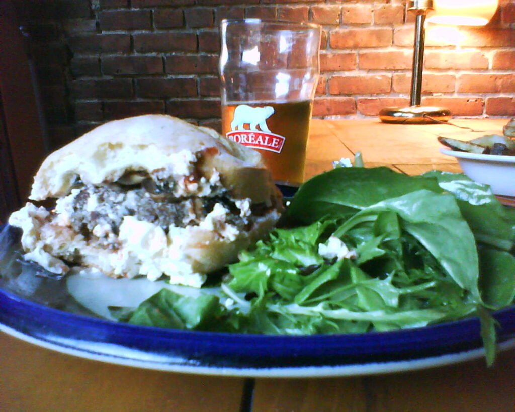 bison burger goat cheese
