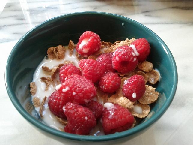 raspberries in cereal